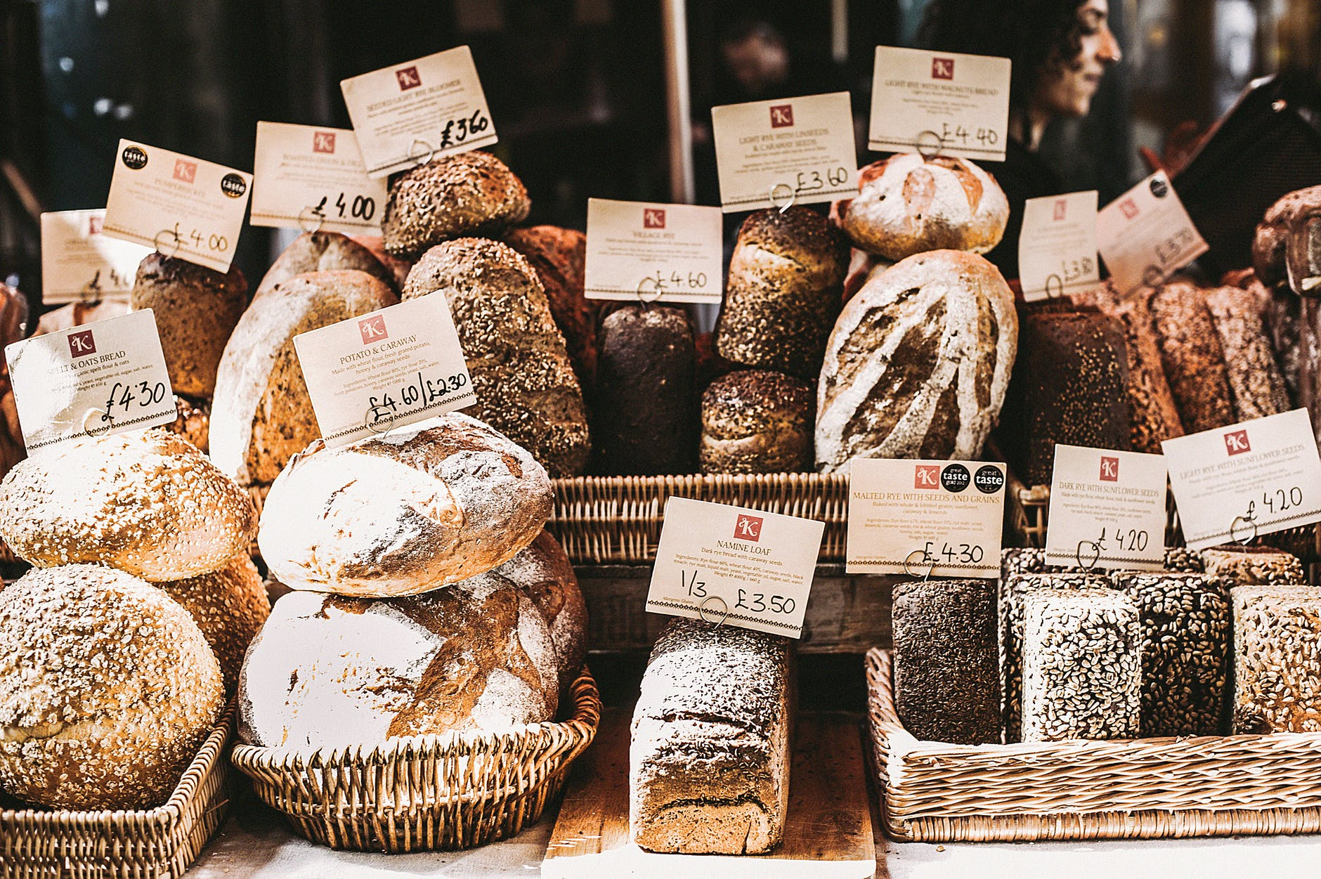 various breads on wicker baskets